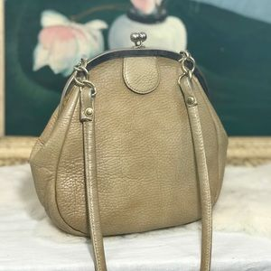 Vintage Top Snap Wide Mouth Tan Pebble Leather Bag